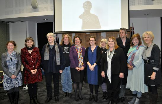 Nillumbik Ekphrasis Poetry Award Ceremony 2015: Melissa Watts (commended), Lyn Chatham (2nd Prize), Sandra Renew (commended), David Kelly (commended), Jo Wilson Ridley (commended), Helen Bradwell (3rd prize), Helen Lucas (judge), Mayor Cr Helen Coleman, Steve Smart (judge), Karen Throssell (judge), Debra Lawrance (special guest reader). Photo via Nillumbik Shire Council.