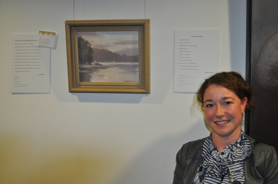 Melissa Watts with artwork - David Moore, Untitled. Photo via Nillumbik Shire Council.